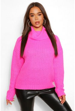 Hot pink pink Roll Neck Textured Yarn Jumper