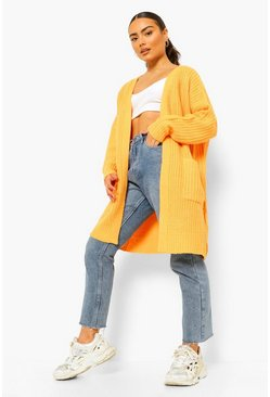 Saffron yellow Chunky Knit Midi Length Cardigan