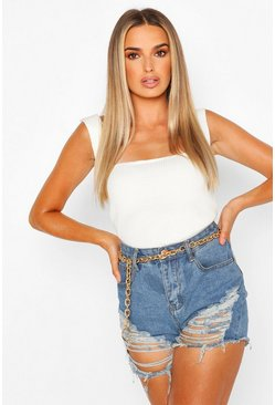 Ivory Square Neck Rib Knit Top