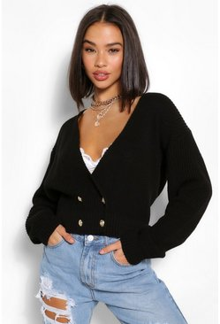Black Wrap V Neck Oversized Cardigan