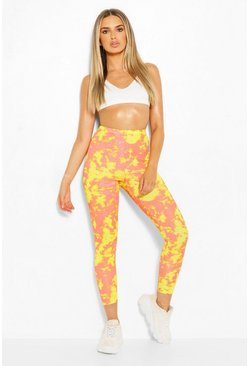 Yellow Bright Tie Dye High Waist Ribbed Leggings
