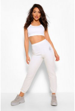 Ivory white Celestial Print Sweat Joggers