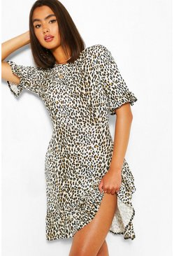 Brown Leopard Print Asymetric Ruffle Hem Shift Dress