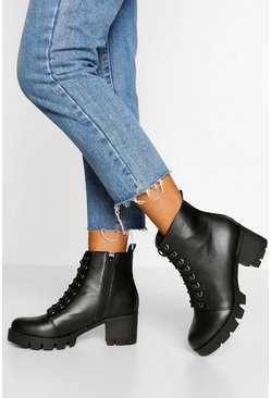Black Wide Fit Lace Up Block Heel Hiker Boot