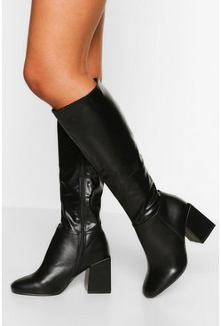 Black Wide Fit Block Heel Knee High Boot
