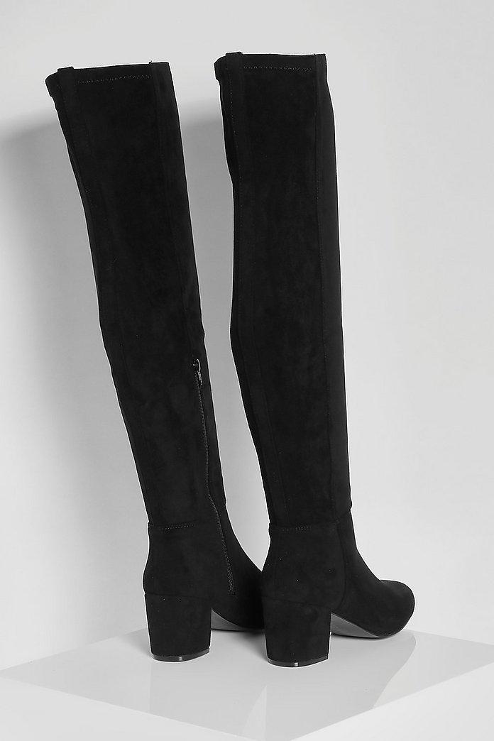 Stretch overknee laarzen met wijde pasvorm en blokhak   boohoo