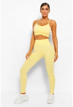Lemon yellow Fit Seamfree Contrast Gym Leggings