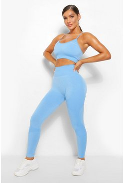 Sky blue Fit Seamfree Contrast Workout Leggings