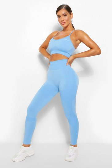 Sky blue Fit Seamfree Contrast Gym Leggings