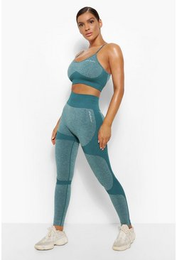 Forest green Fit Seamfree Contrast Workout Leggings