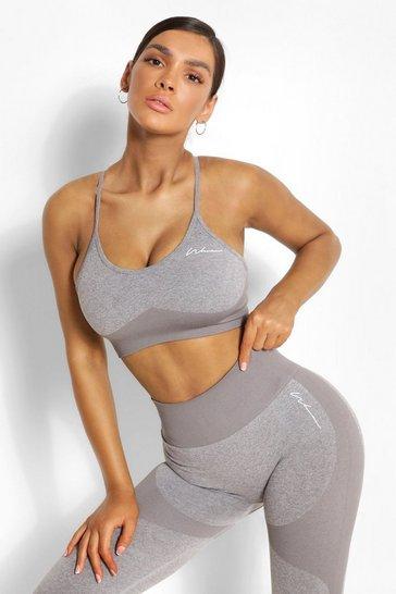 Grey Fit Seamfree Contrast Sports Bra