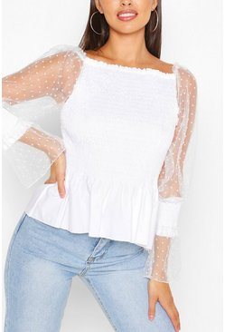 White SHIRRED DOBBY SLEEVE OFF THE SHOULDER TOP