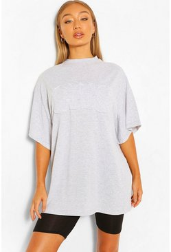 Grey marl grey OHIO APPLIQUE OVERSIZED T-SHIRT