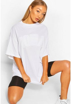 White IOWA APPLIE OVERSIZED T-SHIRT