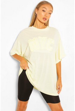 Lemon yellow NYC APPLIQUE OVERSIZED T-SHIRT