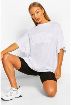 T-SHIRT COUPE OVERSIZE APPLIQUÉ NYC, Blanc