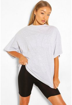 Grey marl grey NYC APPLIQUE OVERSIZED T-SHIRT