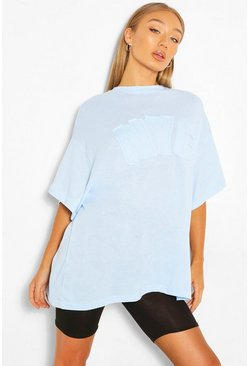 Pastel blue NYC APPLIQUE OVERSIZED T-SHIRT