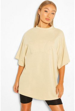 Sand beige NYC APPLIQUE OVERSIZED T-SHIRT