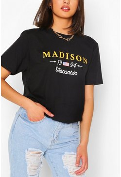 Black MADISON COLLEGIATE PRINT T-SHIRT