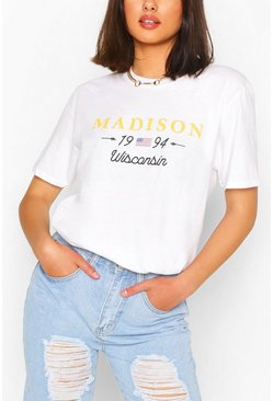 White MADISON COLLEGIATE PRINT T-SHIRT
