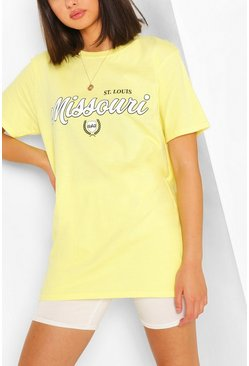 Yellow MISSOURI COLLEGIATE PRINT T-SHIRT