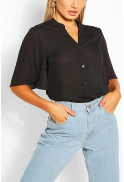 Black Angel Sleeve Button Down Woven Top