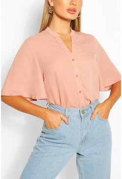 Terracotta Angel Sleeve Button Down Woven Top