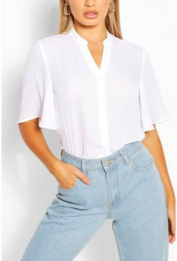 White Angel Sleeve Button Down Woven Top