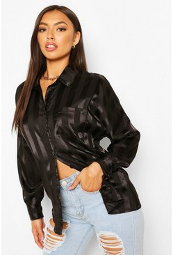 Black Oversized Satin Stripe Shirt