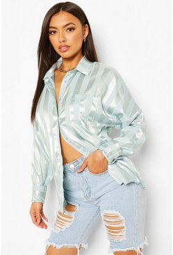 Mint green Oversized Satin Stripe Shirt