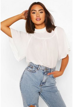 White Shirred Neck Detail Woven Blouse