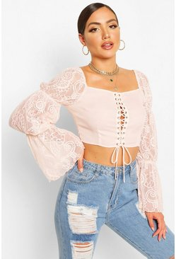 Blush pink Lace Sleeve Corset Front Top