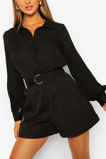Black Pleated Balloon Sleeve Woven shirt
