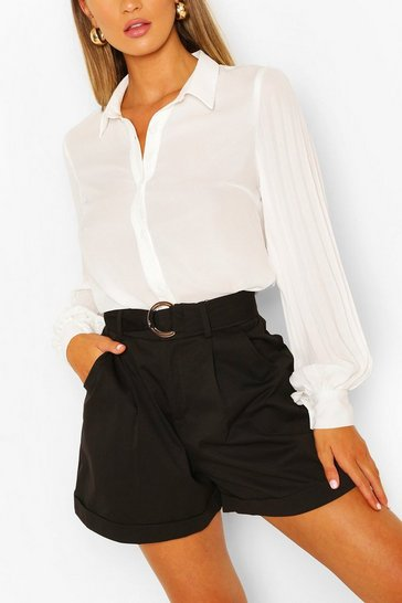 Ivory Pleated Balloon Sleeve Woven shirt