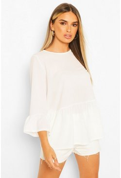 Ivory white Woven Smock Top