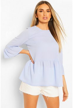 Sky blue Woven Smock Top