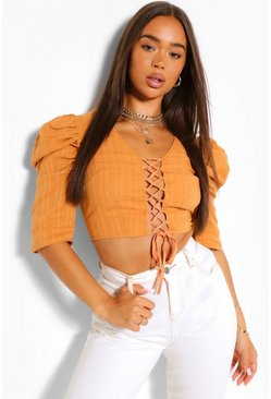 Mustard yellow Woven Puff Sleeve Lace Up Top