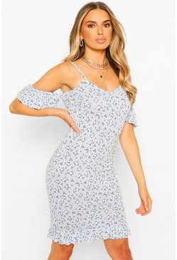Blue Ditsy Floral Cold Shoulder Slip Midi Dress