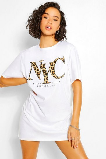 White Leopard Print NYC Oversized T-shirt Dress