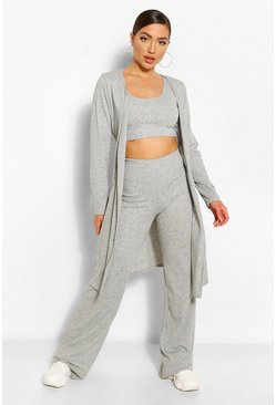 Grey Soft Rib Knit 3PC Co-ord