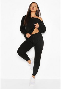 Black Slash Neck Knitted Tracksuit