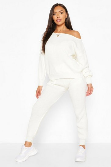 Ivory white Slash Neck Knitted Tracksuit