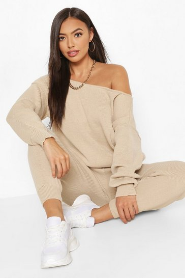Stone beige Slash Neck Knitted Tracksuit