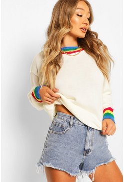 Ivory Rainbow Trim Crop Jumper