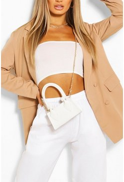 Beige Oversized Covered Button Blazer