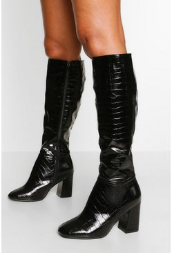 Black Wide Fit Block Heel Knee Boot