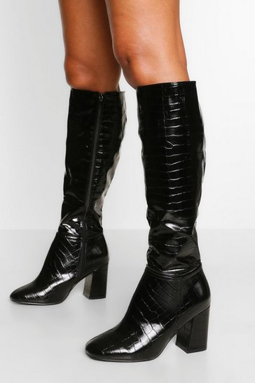 Black Wide Fit Block Heel Knee Boot