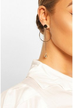 Gold metallic Circle & Ball Drop Earrings