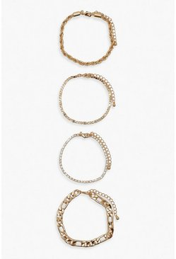 Gold metallic Multi Chain & Diamante Detail 4 Pack Bracelets